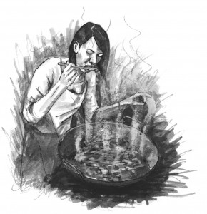 Illustration by Sara Simon, from The Mystic Cookfire